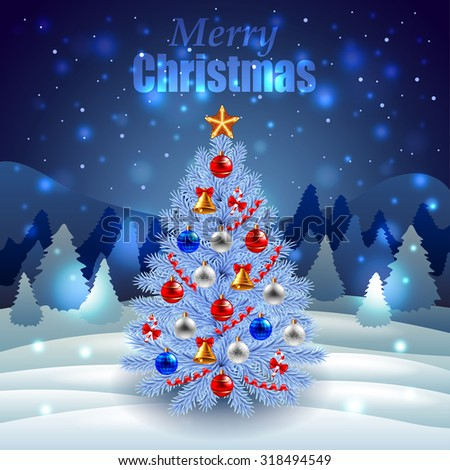 Decorated Christmas tree on night winter scenery realistic vector - stock vector