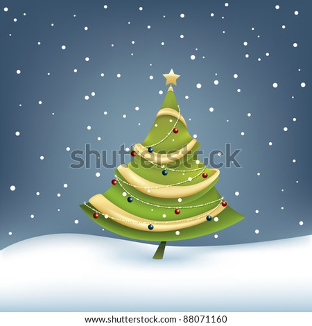 decorated christmas tree on snow background, gradient mesh used - stock vector