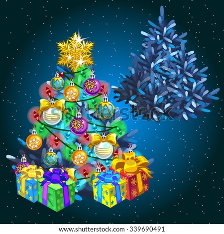 Decorated Christmas tree with gifts before the holiday and after - stock vector