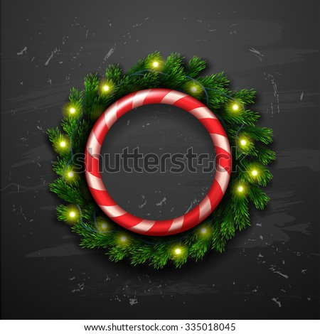 decorated Christmas wreath Christmas greeting card . Happy new year. Xmas vector background - stock vector