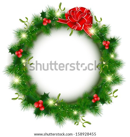 Decorated Christmas Wreath With Stars Over White Background, Copyspace - stock vector