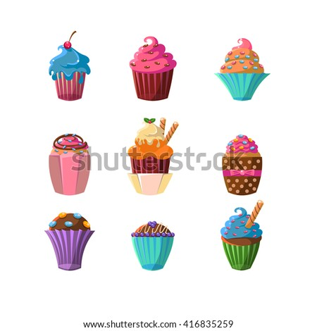 Decorated Cupcakes Sticker Collection Of Flat Vector Cute Girly Style Isolated Items On White Backgroud - stock vector