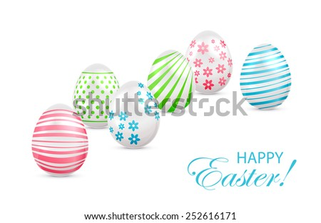 Decorated Easter eggs with colorful elements on white background, illustration. - stock vector