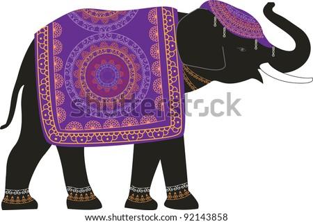 Decorated Elephant - stock vector