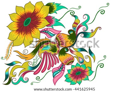 Decorated flower background . Vector illustration