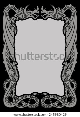 decorated frame with dragons A-4 format - stock vector