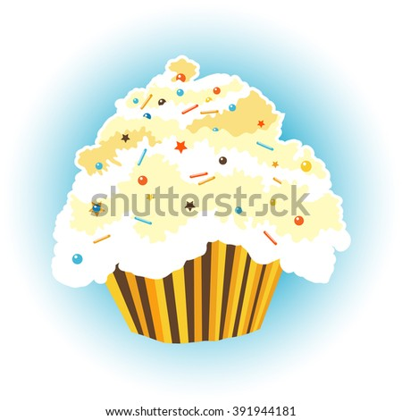 Decorated gingerbread light cupcake with color powder. Vector illustration.