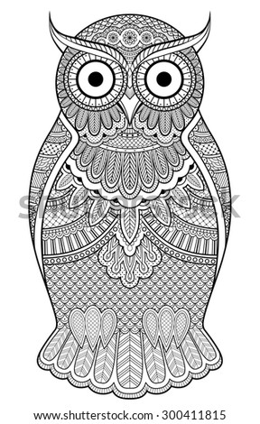 Decorated graphic owl with patterns and ornaments
