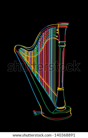 Decorated harp sketch in colors over black