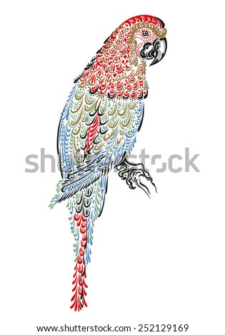 Decorated parrot bird macaw ara with ornament pattern - stock vector