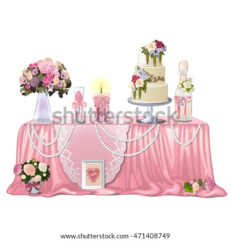 Decorated table with wedding paraphernalia isolated on white background. Vector illustration.