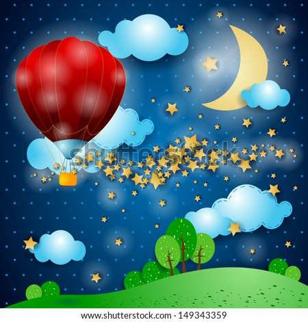 Decorating the night, vector - stock vector