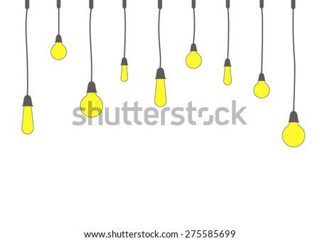 decoration art of hanging light bulbs vector