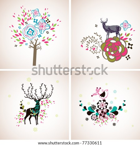 decoration art with birds and deer set - stock vector