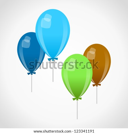 Decoration Balloons - Blue green and brown celebration air baloons on white background - stock vector