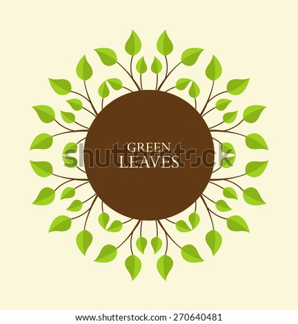 Decoration branches with leaves with place for text - stock vector