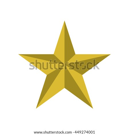 Decoration concept represented by gold star icon. isolated and flat illustration