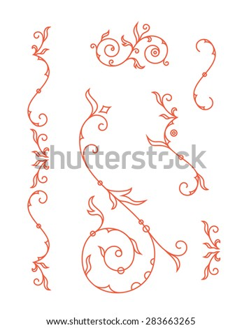 Decoration elements, floral ornaments for wedding invitation card. Vector illustration - stock vector