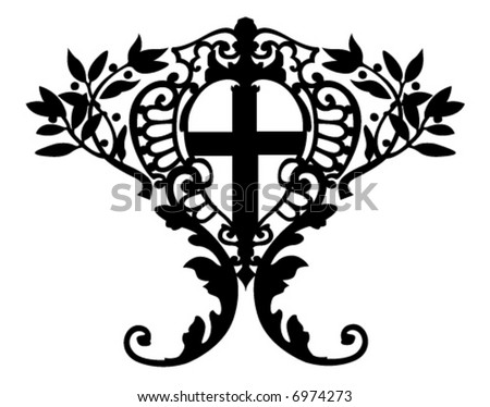 decoration with cross in the middle - full editable vector - stock vector