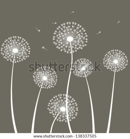 Decoration with dandelion. Vector - stock vector