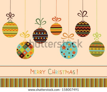 Decoration with stylized christmas balls. Vector - stock vector