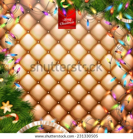 Decorations for Christmas and New Year holidays on the background of gold leather. EPS 10 vector file included - stock vector