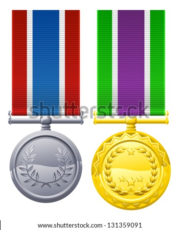 Decorations or medal design elements illustrations, one gold with white, purple and green ribbon, one silver with blue white and red ribbon - stock vector