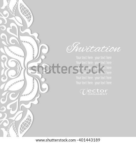 Decorative abstract background, wedding invitation or greeting card design with doodle floral lace pattern. Beautiful luxury postcard, ornate page cover, ornamental vector illustration - stock vector