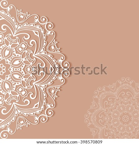 Decorative abstract background, wedding invitation or greeting card design with lace pattern, Mandala element. Beautiful luxury postcard, ornate page cover, ornamental vector illustration - stock vector