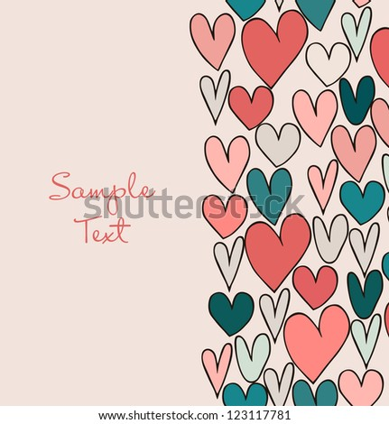 Decorative abstract love border. Cute cartoon banner with hand drawn hearts. Graphic design for cards, crafts, gifts - stock vector