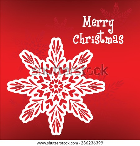Decorative abstract snowflake on redbackground