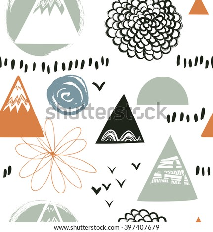 Decorative abstract texture in scandinavian style. Vector background with artistic elements. Drawn pattern - stock vector