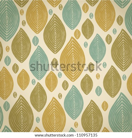 Decorative abstract vintage leaves seamless pattern.Seamless retro light texture - stock vector