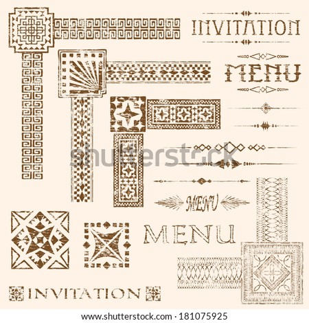 Decorative aged and faded menu and invitation border vector elements