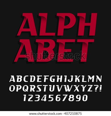 Decorative alphabet vector font. Oblique type letters and numbers. Stock vector typography for headlines, posters etc. - stock vector