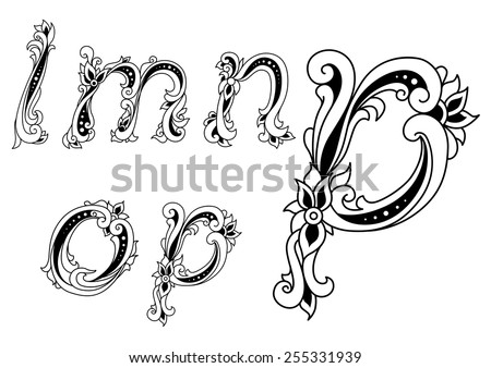 Decorative alphabet letters L, M, N, O and P with floral elements - stock vector