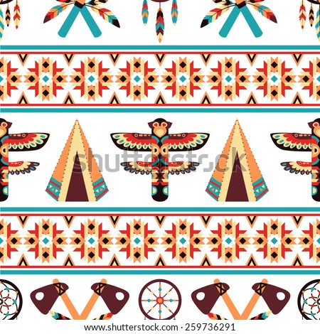 Decorative american indian ethnic border tapestry embroidery or interior scene appearance traditional native design abstract vector illustration - stock vector
