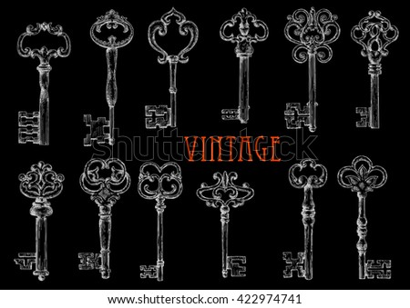 Decorative ancient skeleton keys with intricate notched bits chalk sketches on blackboard, ornated by vintage forged flourishes and fleur-de-lis elements. Use as tattoo or embellishment design