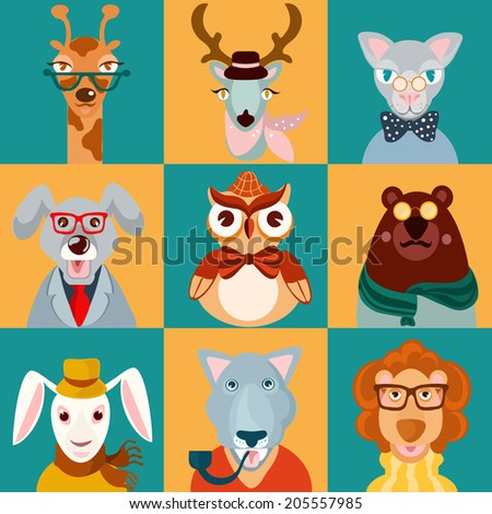 Decorative animal hipsters icons set cat bear owl lion isolated vector illustration - stock vector