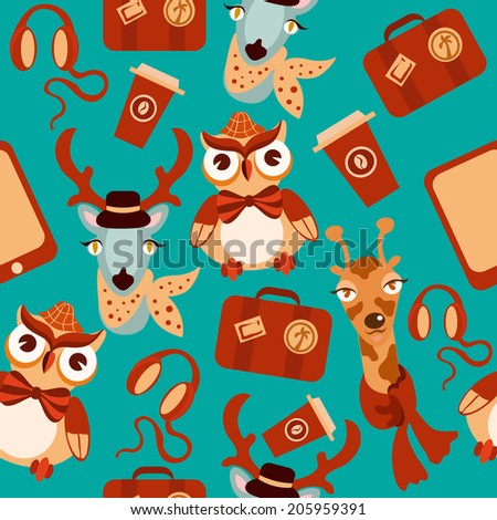 Decorative animal hipsters seamless background of owl deer giraffe vector illustration. - stock vector