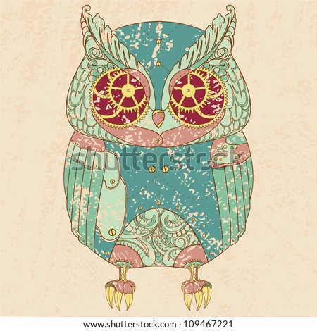 Decorative animal. Steam punk owl. - stock vector