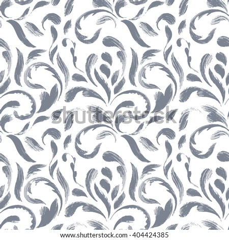 Decorative art seamless pattern. Pastel brush strokes on white background. Hand drawn elements. Vector - stock vector