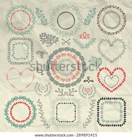 Decorative Artistic Colorful Hand Sketched Doodle Floral Wreaths, Laurels, Branches, Frames and Borders on Crumpled Paper Texture. Design Elements. Pen Drawing. Vector Illustration - stock vector