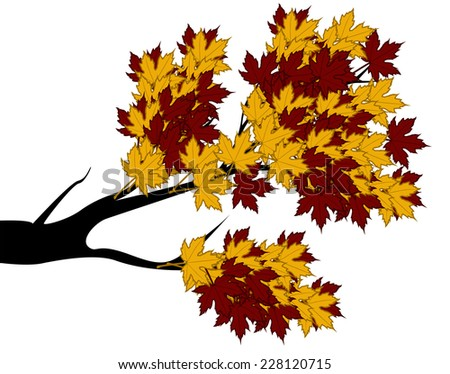 Decorative Autumn Branch Tree Silhouette With Brown Leaves - stock vector