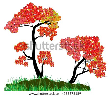 Decorative Autumn Tree Silhouette With Brown Leaves - stock vector
