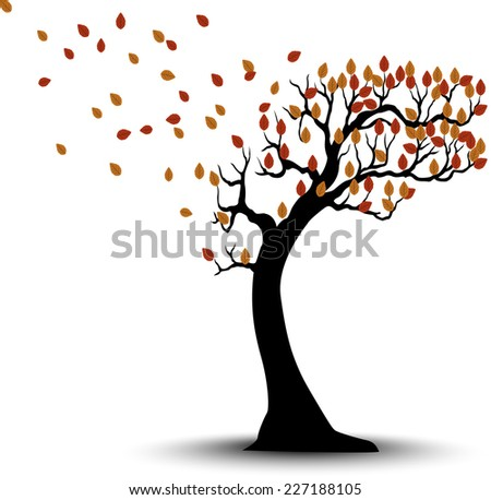 Decorative Autumn Tree Silhouette With Brown Leaves And Wind - stock vector
