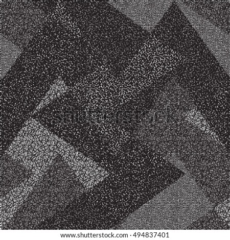 Decorative background in black and white with irregular geometric shapes. Abstract vector.