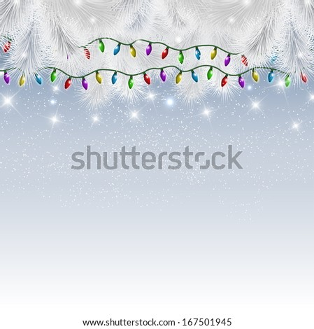 Decorative background with christmas tree branches and lights