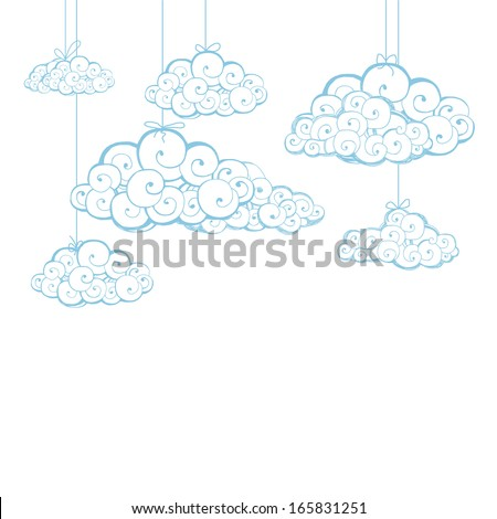 Decorative background with clouds. Sketch - stock vector
