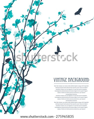 Decorative background with trees, flowers and birds. Vintage pastel - stock vector